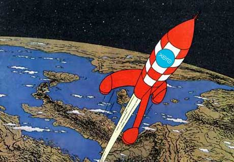 tintin rocket -  yes we went out and brought a tintin book :)