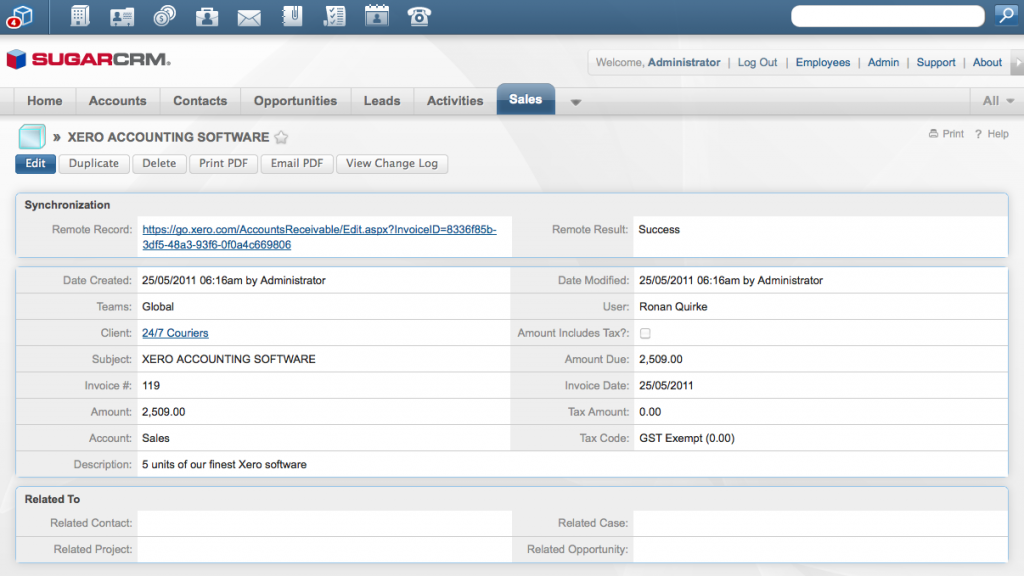 Working with a Xero invoice inside SugarCRM