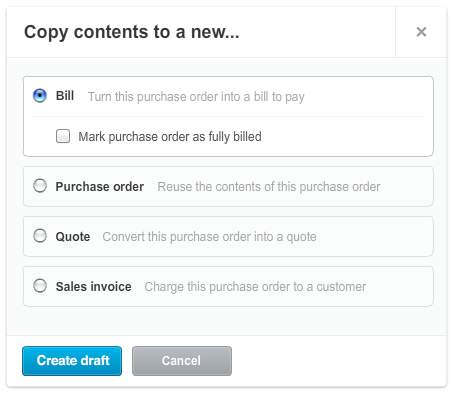 Copy contents to a new purchase order
