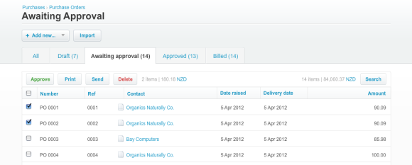 Purchase orders list view