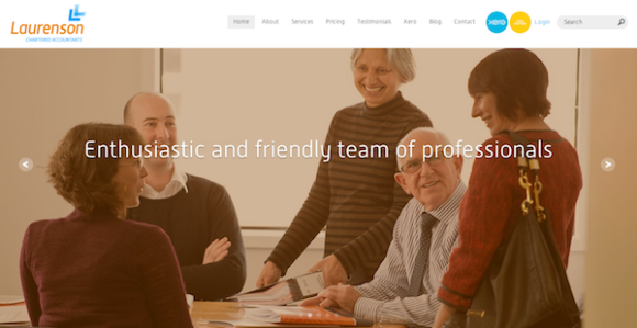 Laurenson Chartered Accountants web redesign – homepage screenshot