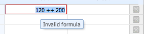 Example of error message when you enter a typo in the formula using the inbuilt calculator