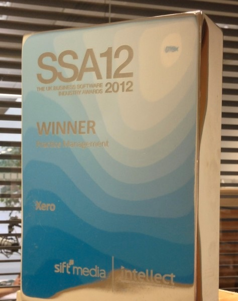 Xero award – Software Satisfaction Awards 2012