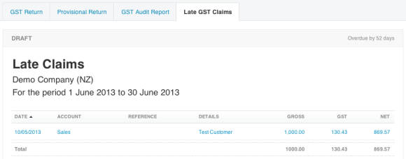 Xero GST late claims