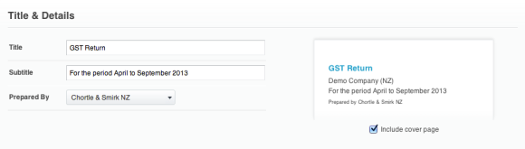 Xero GST publish title
