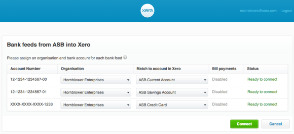 Bank feeds from ASB into Xero