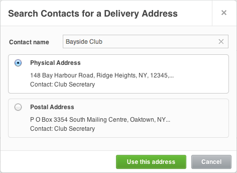 Search contacts in Xero for a delivery address