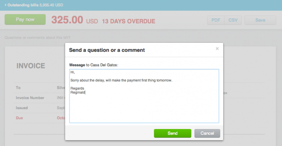 Send online invoice message