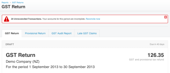 Xero GST unreconciled warning