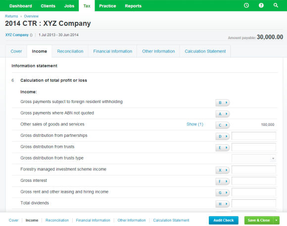 Xero Practice Manager - Company Tax Return