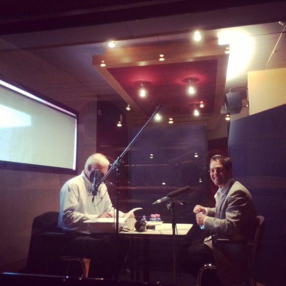 Chris smiles during his interview with Alan Kohler for Qantas Radio