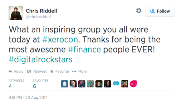 Tweet from presenter @chrissriddell after Xerocon