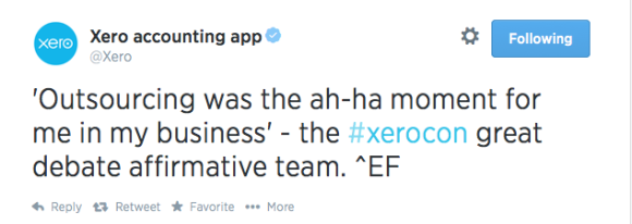 @Xero on Twitter re outsourcing