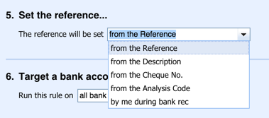 'Set the reference' options in Xero