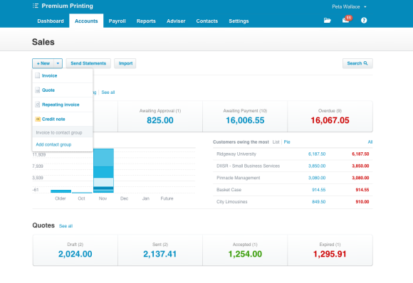 Xero quotes interface