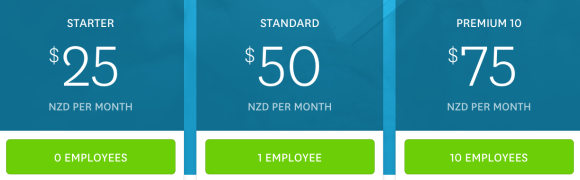 New Zealand Payroll in Xero pricing plans