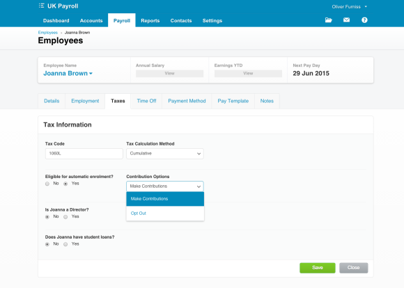 auto enrolment workplace pension support in payoll in xero