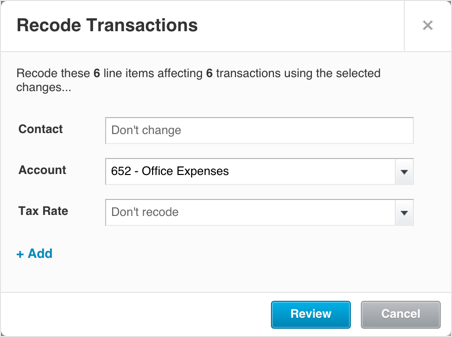 Recode transactions