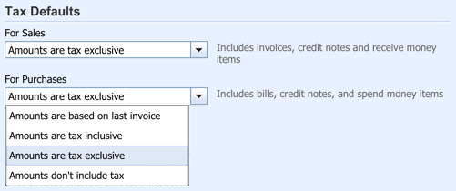 Set your business sales tax settings for Sales and/or Purchases