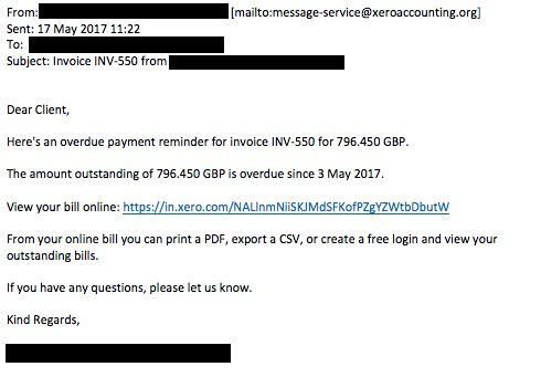 Security Noticeboard Xero Blog - Invoice email to client