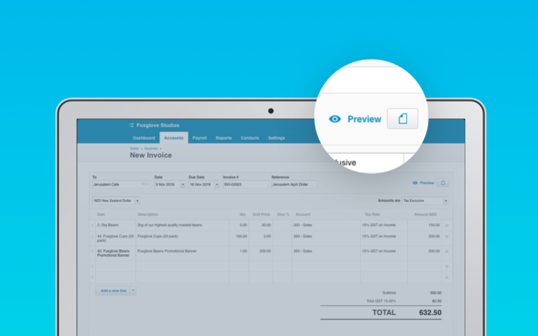 live preview for invoicing