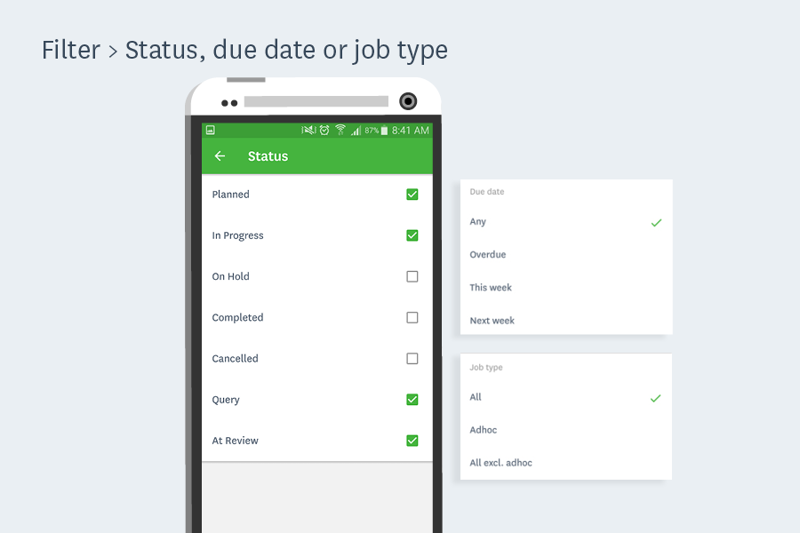 filter status workflowmax android