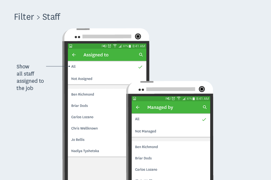 filter jobs by staff workflowmax android