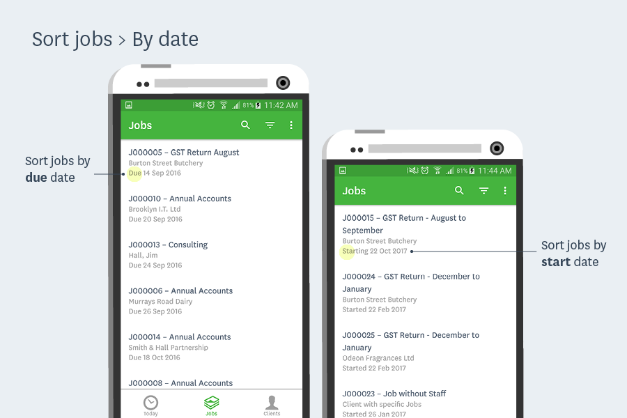 sort jobs by date workflowmax android