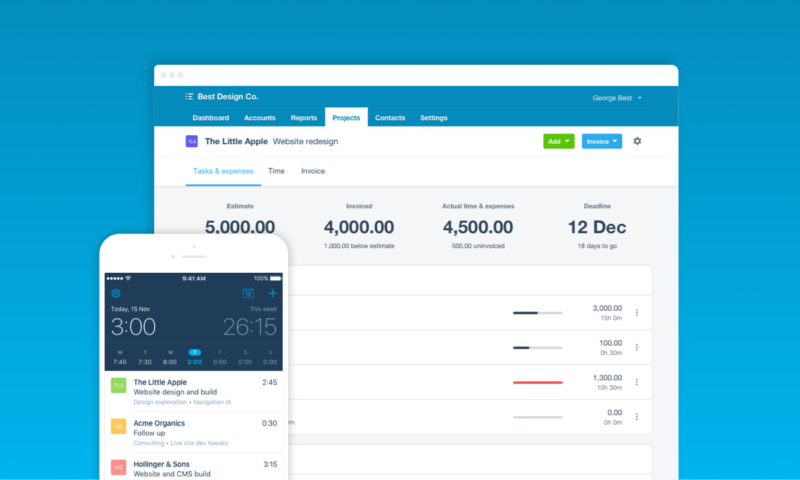 xero projects drive profitability by easily tracking time and costs