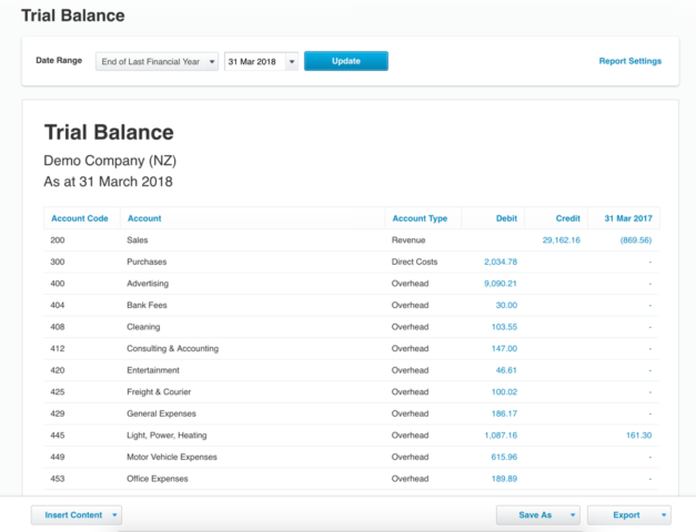 it still provides all the usual functions you would expect from any good trial balance like the ability to see the reporting period and the debit or credit