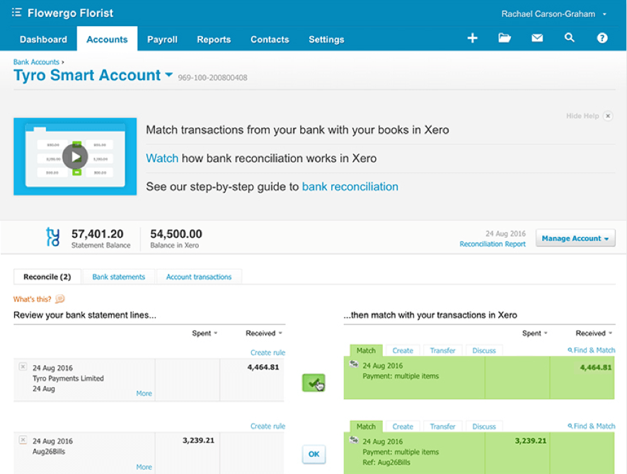 Tyro Smart Account reconciliation within Xero