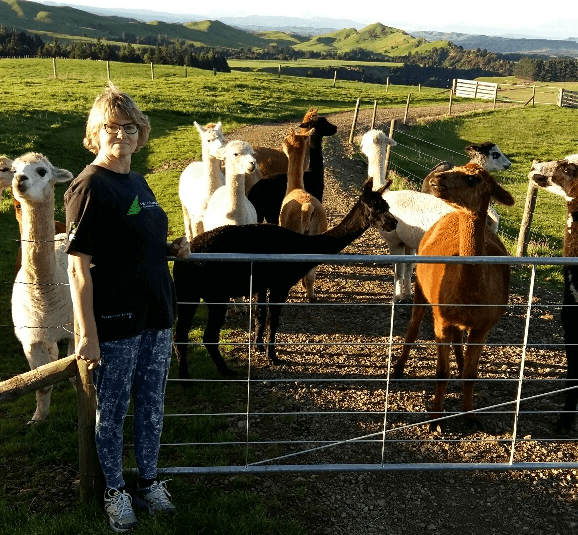 Leaine and her alpacas on the farm