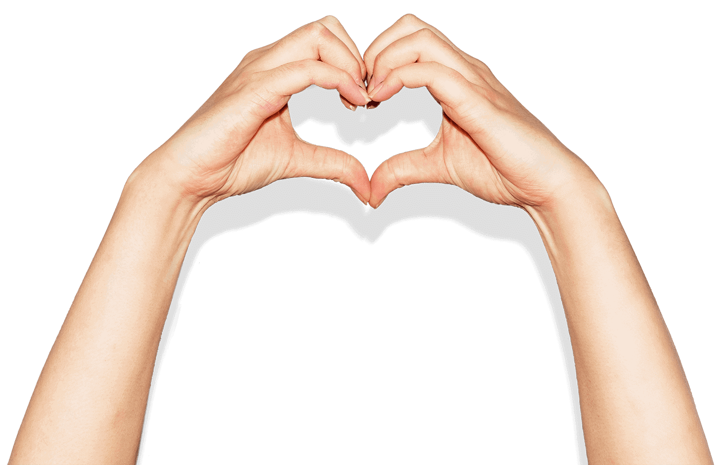 Hands in a heart shape represent the support Xero offers to businesses affected by the pandemic.