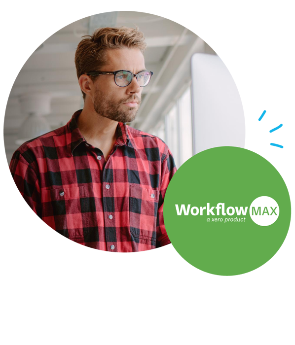 WorkflowMax logo and customer image