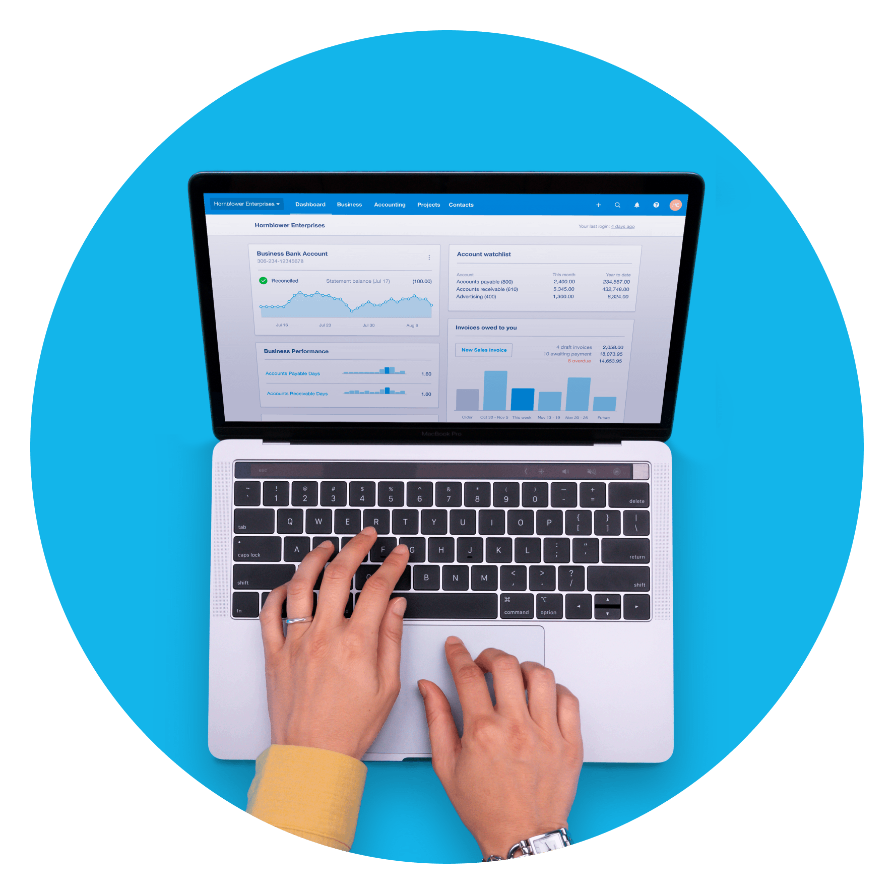A person is looking at the Xero dashboard on a laptop