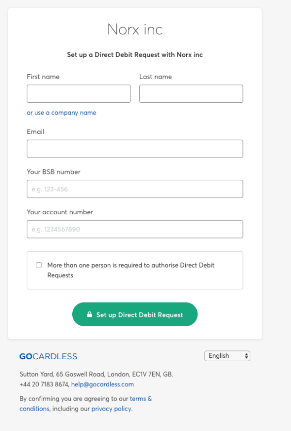 A simple direct debit form for small business, with just five fields to fill out and a submit button.