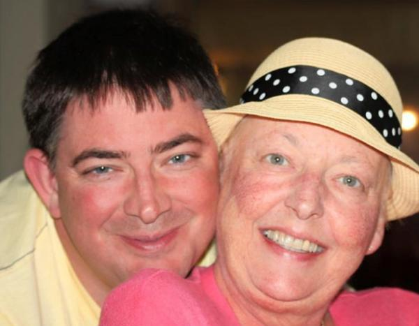 Stephen Paul with his mother on holiday