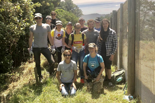 Xero employees spent the day at Zealandia in Wellington clearing invasive plants from the fence line to protect the wildlife inside.