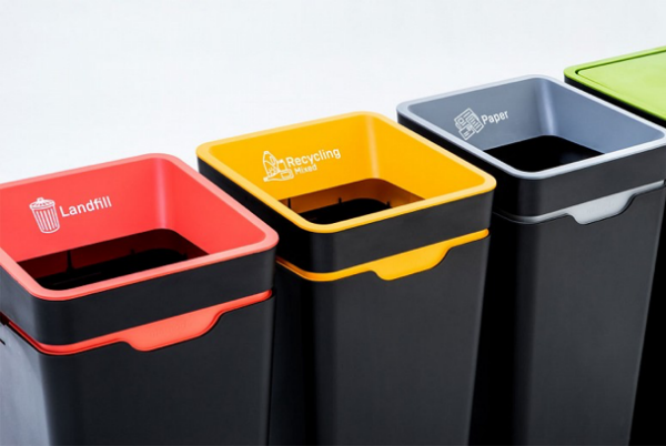 Recycling bins in Xero offices