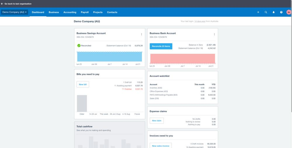 Xero Product: Dashboard