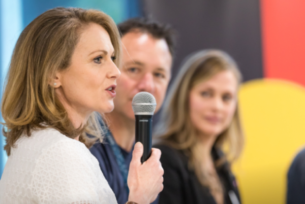 Left to right: Dale Murray, Xero Board Member; Trent Innes, Managing Director Xero Australia; Lucy Lloyd, Co-founder Mentorloop speaking at Xero International Woman's day panel event March 2019.
