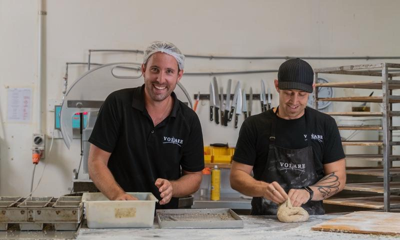 Ed and Ryan, owners of Volare, making bread in the bakery