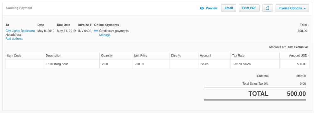 Xero Product: Invoicing