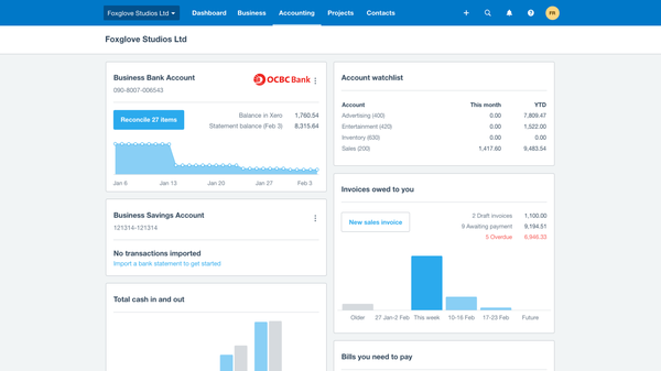 ocbc dashboard xero