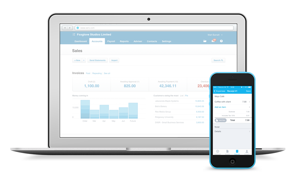 laptop and iPhone running Xero software