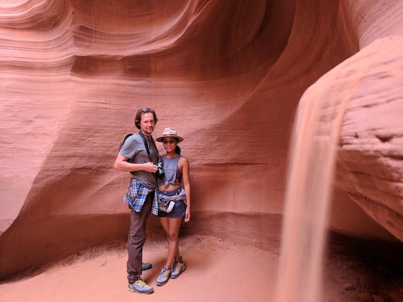 Claire and her husband in the Antelope Canyon in Arizona