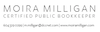 Moira Milligan, Certified Public Bookkeeper logo